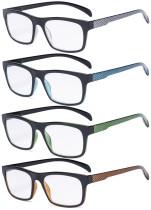 4 Pack Reading Glasses - Pattern Design Readers for Women Men Reading R047