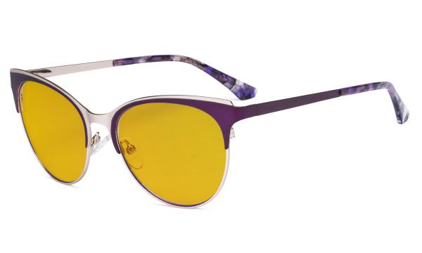 Blue Light Glasses - Cate Eye Digital Eyeglasses for Women Blocking Computer Screen UV Rays - Anti Glare Filter Reduce Eye Strain Amber Filter - Purple LX19040-BB90