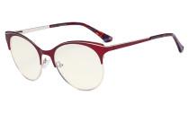 Blue Light Glasses - Digital Eyeglasses for Women Blocking Computer Screen UV Rays - Anti Glare Filter Reduce Eye Strain Cat Eye Design - Red LX19042-BB40