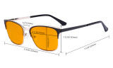 Computer Reading Glasses for Women Blue Light Blocking-Ladies Rimless Oversize Cateye Eyeglasses with Orange Tinted Filter Lens for Nighttime,Silver DSWK9902