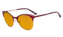 Blue Light Glasses - Digital Eyeglasses for Women Blocking Computer Screen UV Rays - Anti Glare Filter Reduce Eye Strain Cat Eye Design Orange Tinted Filter - Red LX19042-BB98