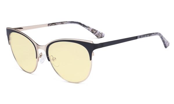 Blue Light Glasses - Cate Eye Digital Eyeglasses for Women Blocking Computer Screen UV Rays - Anti Glare Filter Reduce Eye Strain Yellow Filter - Black LX19040-BB60