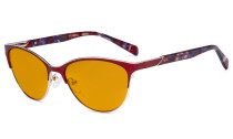 Ladies Cateye Blue Light Filter Glasses - Digital Eyegalsses Blocking Computer Screen UV Rays - Anti Glare Filter Reduce Eye Strain Orange Tinted Filter - Red LX19038-BB98