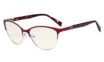 Ladies Cateye Blue Light Filter Glasses - Digital Eyegalsses Blocking Computer Screen UV Rays - Anti Glare Filter Reduce Eye Strain - Red LX19038-BB40