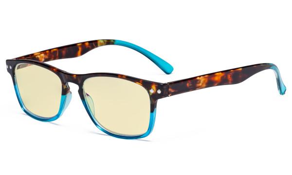 Blue Light Blocking Glasses with Yellow Tinted Filter Lens - Design Computer Eyeglasses Women - Tortoise/Blue TM046D