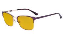 Blue Light Glasses - Design Digital Eyeglasses for Women Blocking Computer Screen UV Rays - Anti Glare Filter Reduce Eye Strain Amber Filter - Purple LX19039-BB90