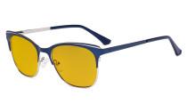 Blue Light Glasses - Square Digital Eyeglasses for Women Blocking Computer Screen UV Rays - Anti Glare Filter Reduce Eye Strain Amber Filter - Blue BB90