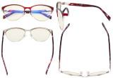 Blue Light Glasses - Semi Rimless Digital Eyeglasses for Women Blocking Computer Screen UV Rays - Anti Glare Filter Reduce Eye Strain Orange Tinted Filter - Black LX19043-BB98