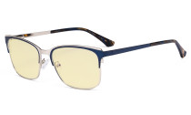 Blue Light Glasses - Design Digital Eyeglasses for Women Blocking Computer Screen UV Rays - Anti Glare Filter Reduce Eye Strain Yellow Filter - Blue LX19039-BB60