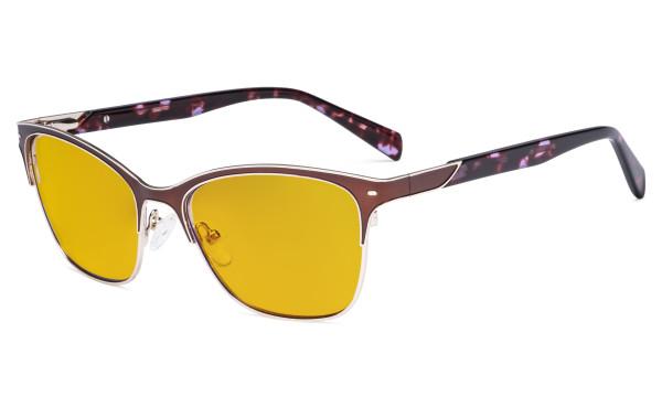 Ladies Blue Light Glasses - Digital Eyeglasses for Women Blocking Computer Screen UV Rays - Anti Glare Reduce Eye Strain Amber Filter - Brown LX19037-BB90