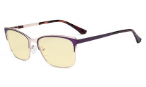 Blue Light Glasses - Design Digital Eyeglasses for Women Blocking Computer Screen UV Rays - Anti Glare Filter Reduce Eye Strain Yellow Filter - Purple LX19039-BB60