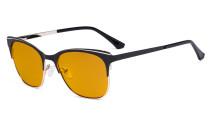 Blue Light Glasses - Square Digital Eyeglasses for Women Blocking Computer Screen UV Rays - Anti Glare Filter Reduce Eye Strain Orange Tinted Filter - Black 98
