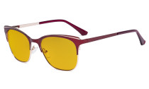 Blue Light Glasses - Square Digital Eyeglasses for Women Blocking Computer Screen UV Rays - Anti Glare Filter Reduce Eye Strain Amber Filter - Red BB98