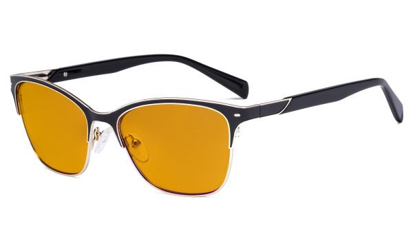 Ladies Blue Light Glasses - Digital Eyeglasses for Women Blocking Computer Screen UV Rays - Anti Glare Reduce Eye Strain Orange Tinted Filter - Black LX19037-BB98