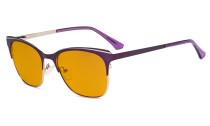 Blue Light Glasses - Square Digital Eyeglasses for Women Blocking Computer Screen UV Rays - Anti Glare Filter Reduce Eye Strain Orange Tinted Filter - Purple BB98