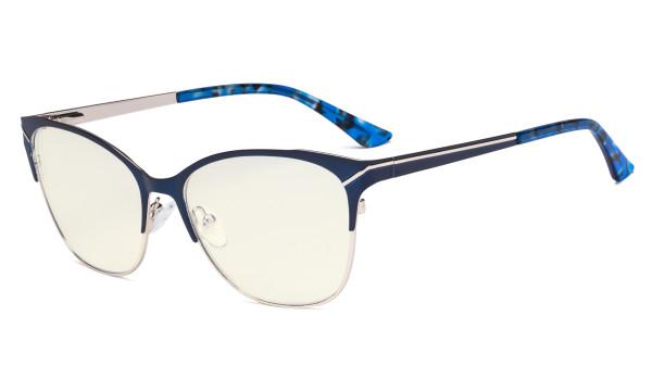 Blue Light Glasses - Semi Rimless Digital Eyeglasses for Women Blocking Computer Screen UV Rays - Anti Glare Filter Reduce Eye Strain - Blue LX19043-BB40