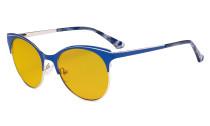 Blue Light Glasses - Digital Eyeglasses for Women Blocking Computer Screen UV Rays - Anti Glare Filter Reduce Eye Strain Cat Eye Design Amber Filter - Blue LX19042-BB90