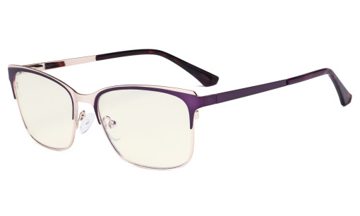 Blue Light Glasses - Design Digital Eyeglasses for Women Blocking Computer Screen UV Rays - Anti Glare Filter Reduce Eye Strain - Purple LX19039-BB40