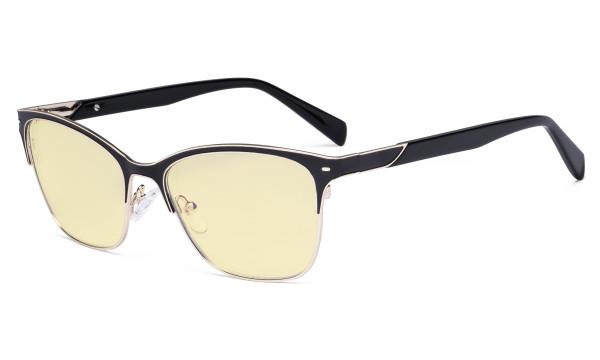 Ladies Blue Light Glasses - Digital Eyeglasses for Women Blocking Computer Screen UV Rays - Anti Glare Reduce Eye Strain Yellow Filter - Black LX19037-BB60