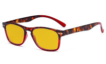 Blue Light Blocking Glasses with Amber Tinted Filter Lens - Design Computer Eyeglasses Women - Tortoise/Red HP046D