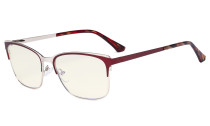 Blue Light Glasses - Design Digital Eyeglasses for Women Blocking Computer Screen UV Rays - Anti Glare Filter Reduce Eye Strain - Red LX19039-BB40