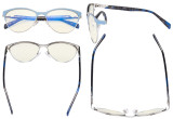 Blue Light Glasses - Semi Rimless Digital Eyeglasses for Women Blocking Computer Screen UV Rays - Anti Glare Filter Reduce Eye Strain Amber Filter - Purple LX19043-BB90