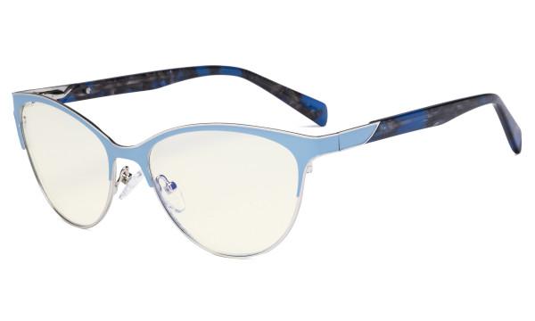 Ladies Cateye Blue Light Filter Glasses - Digital Eyegalsses Blocking Computer Screen UV Rays - Anti Glare Filter Reduce Eye Strain - Blue LX19038-BB40