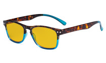 Blue Light Blocking Glasses with Amber Tinted Filter Lens - Design Computer Eyeglasses Women - Tortoise/Blue  HP046D
