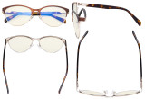 Computer Reading Glasses for Women Blue Light Blocking-Ladies Rimless Oversize Cateye Eyeglasses with Orange Tinted Filter Lens for Nighttime,Gold DSWK9902