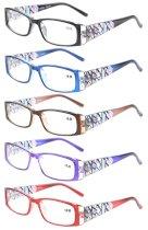 5-Pack Stylish LookCrystal Aeropittura Arms Spring Hinges Womens Reading Glasses