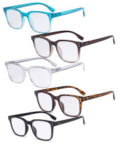 5 Pack Large Reading Glasses - Square Readers for Men Women Reading RT1804-5pcs-Mix