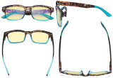 Ladies Blue Light Blocking Glasses - Anti UV Rays Screen Glare Computer Eyeglasses Reading Glasses for Women with Yellow Filter Lens - Tortoise/Blue TMCG1802