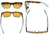Ladies Blue Light Blocking Glasses - Anti UV Rays Screen Glare Computer Eyeglasses Reading Glasses for Women with Orange Tinted Filter Lens for Sleeping - Tortoise/Green DSRT1802