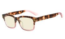 Ladies Blue Light Filter Glasses - UV420 Protection Anti UV Rays Screen Glare Computer Eyeglasses Reading Glasses for Women - Tortoise/Pink UVRT1802