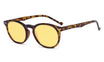Blue Light Blocking Glasses Women - Anti Digital Glare UV Ray Oval Round Computer Eyeglasses Reading Glasses with Yellow Filter Lens - Tortoise TM071