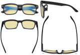 Ladies Blue Light Blocking Glasses - Anti UV Rays Screen Glare Computer Eyeglasses Reading Glasses for Women with Yellow Filter Lens - Black TMCG1802