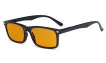 Nighttime Blue Light Blocking Eyeglasses Reading Glasses Men Women with Orange Tinted Filter Lens - Anti Digital Screen Glare UV Ray Computer Glasses - Black DSR899-6