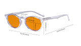 Nighttime Blue Light Blocking Glasses Women - Anti Digital Glare UV Ray Oval Round Computer Eyeglasses Reading Glasses with Orange Tinted Filter Lens - Transparent DS071