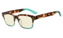 Ladies Blue Light Filter Glasses - UV420 Protection Anti UV Rays Screen Glare Computer Eyeglasses Reading Glasses for Women - Tortoise/Green UVRT1802