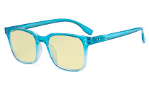Large Blue Light Blocking Glasses Men Women - Anti Digital Glare UV Ray Square Computer Eyeglasses Reading Glasses with Yellow Filter Lens - Blue TMT1804