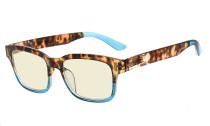 Ladies Blue Light Filter Glasses - UV420 Protection Anti UV Rays Screen Glare Computer Eyeglasses Reading Glasses for Women - Tortoise/Blue UVRT1802