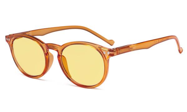 Blue Light Blocking Glasses Women - Anti Digital Glare UV Ray Oval Round Computer Eyeglasses Reading Glasses with Yellow Filter Lens - Orange TM071