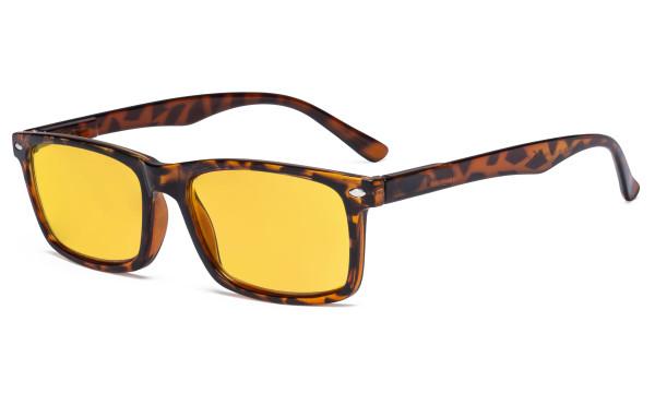 Blue Light Blocking Eyeglasses Reading Glasses Men Women with Amber Tinted Filter Lens - Anti Digital Screen Glare UV Ray Computer Glasses - Tortoise HP899-6