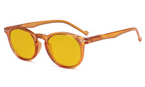 Blue Light Blocking Glasses Women - Anti Digital Glare UV Ray Oval Round Computer Eyeglasses Reading Glasses with Amber Tinted Filter Lens - Orange HP071