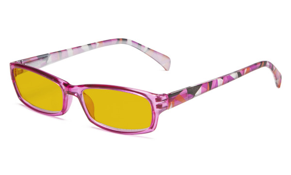 Blue Light Blocking Glasses Women with Amber Tinted Filter Lens - Ladies Computer Eyeglasses Reading Glasses with Pattern Arms - Purple HP1803