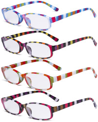 4 Pack Ladies Fashion Reading Glasses - Stripe Design Small Lens Readers for Women Reading R908S-4pcs-Mix