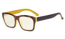 Blue Light Filter Glasses Men Women - UV420 Protection Large Square Frame Computer Eyeglasses Reading Glasses Anti Screen Glare Blue Ray - Tortoise/Yellow UVR045