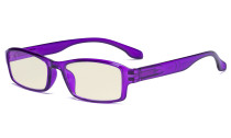 Blue Light Filter Glasses Men Women - UV420 Protection Anti Glare Blue Ray Filter Computer Eyeglasses Reading Glasses - Purple UVR9102