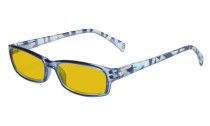 Blue Light Blocking Glasses Women with Amber Tinted Filter Lens - Ladies Computer Eyeglasses Reading Glasses with Pattern Arms - Blue HP1803