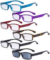 Reading Glasses 6 Pack Comfort Reader Eyeglasses Include Reading Sunglasses for Men Women R9102-6pcs-Mix